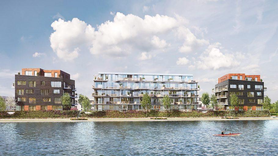 Drei Häuser am Wasser mit Panoramafenstern vom Wasser aus visualisiert