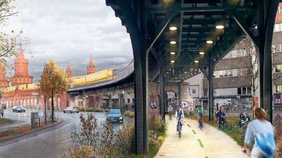 """Das Projekt """"Radbahn"""" möchte Berlins ersten (weitestgehend) überdachten Radweg realisieren. Fast neun Kilometer lang unter der U1."""