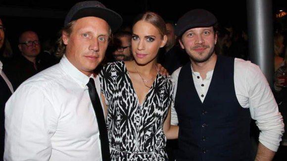 """Das Schauspieler-Trio Lara-Isabelle Rentinck (""""Küstenwache"""") mit Patrick Kalupa (""""Anna und die Liebe"""") und Max Hoppe (rechts, ebenfalls """"Küstenwache"""")."""