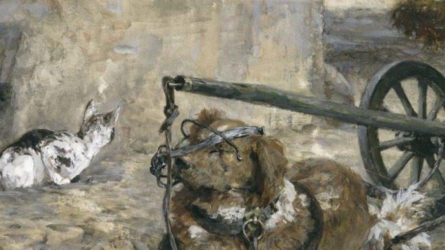 Adolph Menzel: Spannhund und Katze (aus dem Kinderalbum), 1863/83.