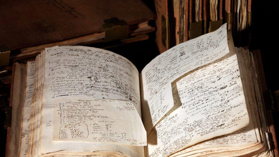 Seine Reisetagebücher fasste Alexander von Humboldt in insgesamt neun Ledereinbänden zusammen und beschriftete diese auch selbst.