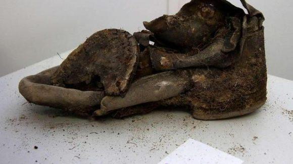 Unter den Funden sind erstaunliche Fundstück wie dieser alte Schuh...