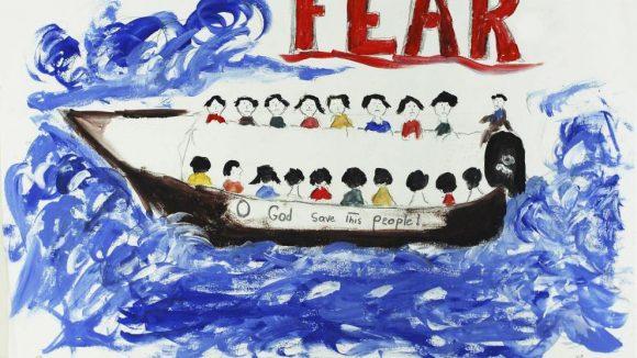 Eine der Zeichnungen, die Flüchtlinge über ihre oft traumatischen Erlebnisse anfertigten.