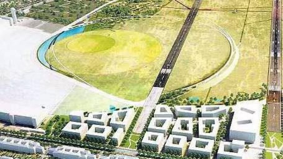 Baufeld West. Direkt am Tempelhofer Damm – zwischen dem alten Terminal und S-Bahnhof (rechts unten) – sollen die ersten 1700 Wohnungen entstehen.Das große Gebäude soll einmal die Landesbibliothek werden.