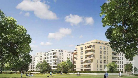 So stellt sich der Bauherr die Wohnanlage Flottwell Living am Rand des Westparks vor.