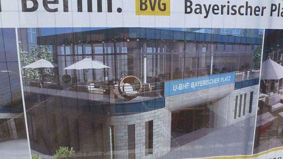 Über dem U-Bahnhof Bayerischer Platz kann man bald in einem gläsernen Pavillon oder auf der Terrasse Kaffeetrinken.