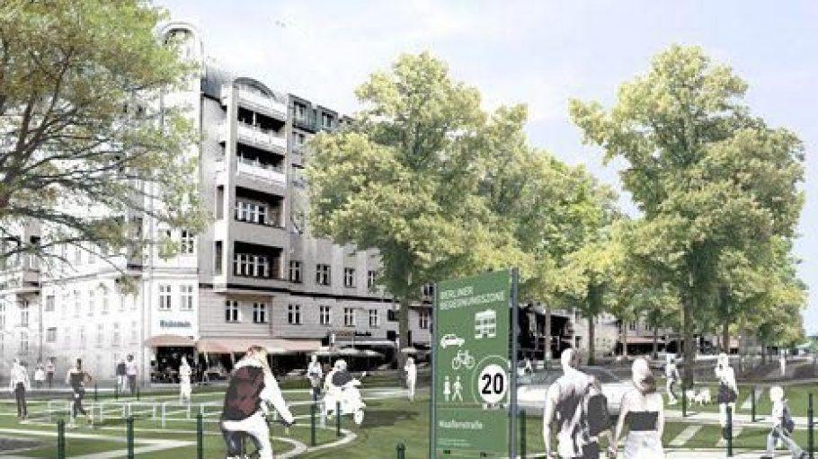 So könnte die Begegnungszone in der Maaßenstraße nach dem Entwurf von Breimann & Bruun bald aussehen.