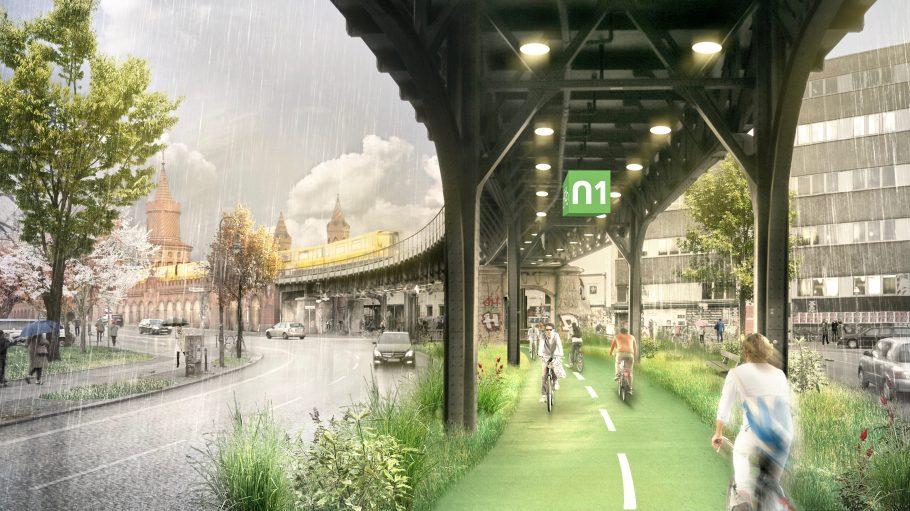 So könnte der Radweg aussehen: Fast 9 Kilometer lang soll die überdachte Strecke werden.