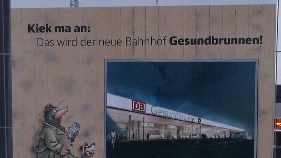 Auf dem freien Bahnhofsvorplatz beginnt die Deutsche Bahn mit dem Bau eines Empfangsgebäudes.
