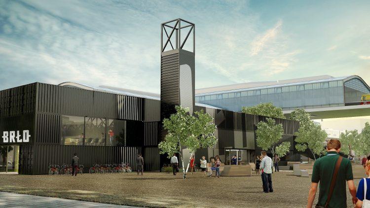"""Direkt neben den Bahngleisen der U1 entsteht das Brauhaus von """"Brlo"""" in einem Gebäude aus Übersee-Containern."""