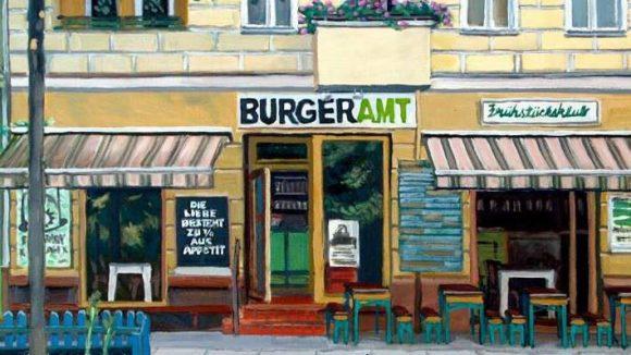 Das Burgeramt am Boxhagener Platz im Sommer ist ein typisches Motiv für den Maler William Wires.