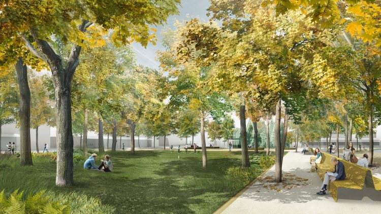 Umbaupläne. So soll der Olivaer Platz künftig aussehen, ganz ohne Parkplätze und mit einem Café statt der bisherigen Imbissbude.