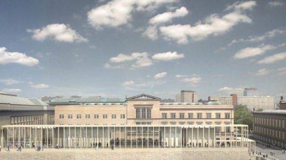 Blick auf die James Simon-Galerie vom Westen, eine Computersimulation. Die Eröffnung des zentralen Zugangs zur Berliner Museumsinsel ist nach mehreren Verschiebungen für 2017 geplant.