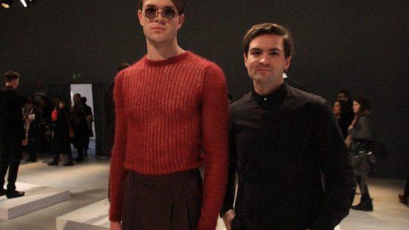 Coole Männermode gab's von IVANMAN im Studio des Zeltes zu sehen: Hier der Designer Ivan Mandzukic (rechts) mit Model.