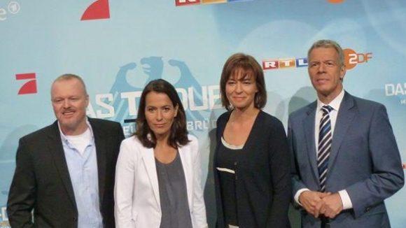 Moderatorenpärchen Stefan Raab/Anne Will und Maybrit Illner/Peter Klöppel.