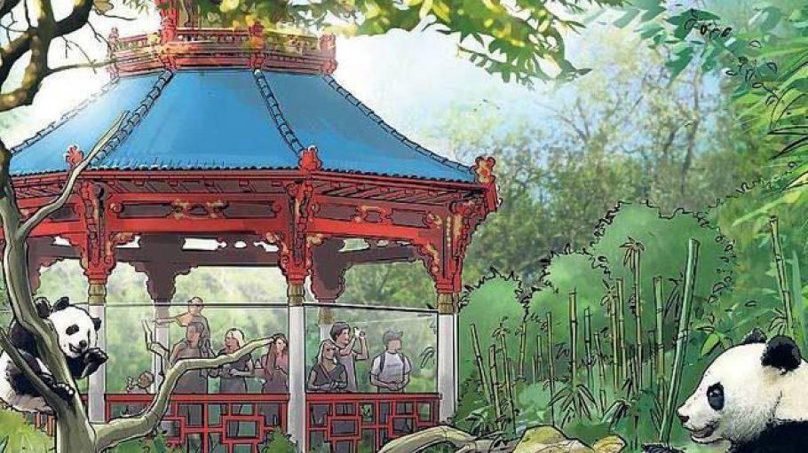 Ein Pavillon für die Pandas.So stellt sich der Zoo das neue Heim für die Bären aus China vor.Nicht nur den Tieren dürfte die Anlage gefallen.