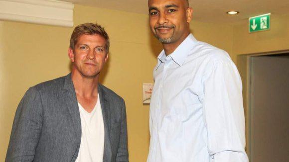 Sportlich auch kein unbeschriebenes Blatt sind Ex-Fußballprofi Marco Rehmer (links) und der ehemalige NBA-Spieler Ademola Okulaja.