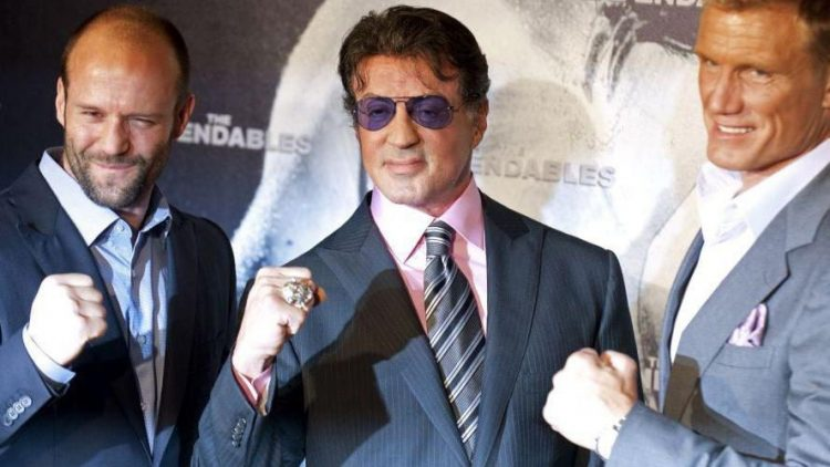 """Auch den ersten Teil """"Expendables"""" stellten Jason Statham (v.l.), Sylvester Stallone und Dolph Lundgren 2010 gemeinsam in Berlin vor."""