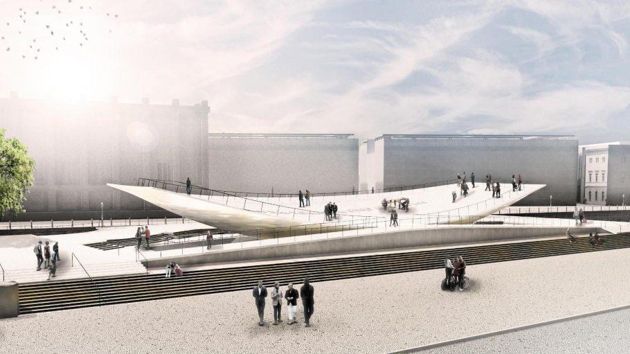 Das geplante Freiheits- und Einheitsdenkmal in Berlin riesig.