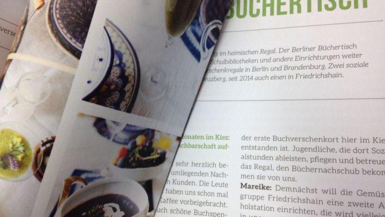 """In dem Buch """"Friedrichshain kocht"""" stellen sich die Macher vom Büchertisch selbst vor. Außerdem gibt es viele andere spannende Einblicke in den Bezirk."""