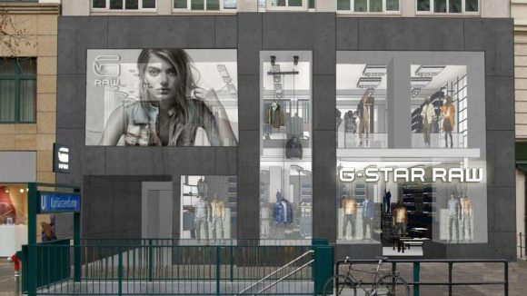 Fast futuristisch: der neue G-Star RAW-Store auf der Einkaufsmeile.