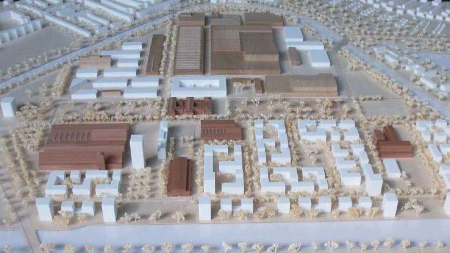 """Modell des Projekts """"Inselstadt Gartenfeld""""."""