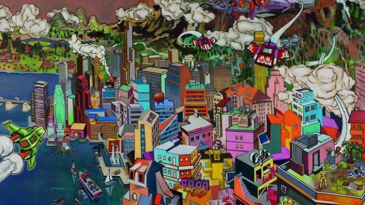 """""""Es ist soweit"""" (Öl und Acryl auf Leinwand, 180 x 252 cm) von Martin Schuster aus dem Jahr 2009."""