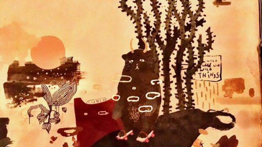 Das Artwork beweist: In der Weinbar Wild Things in Neukölln haben sie nicht nur gute Tropfen und Snacks, sondern auch Sinn für Kunst.