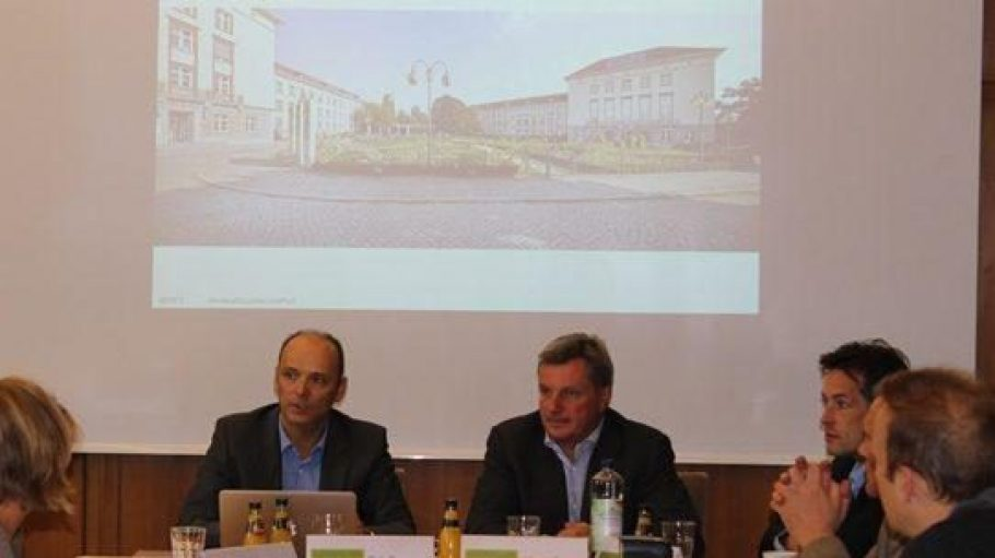 Das Investoren-Gespann Germandi, Rasch, Hoffmann bei der Pressekonferenz am 19. September (v.l.).