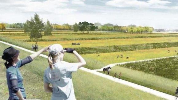Grüner wird's nicht? Von wegen. So sollte der Park mal aussehen. Links sind die alten Schießstände zu sehen, rechts am Horizont der Tower.