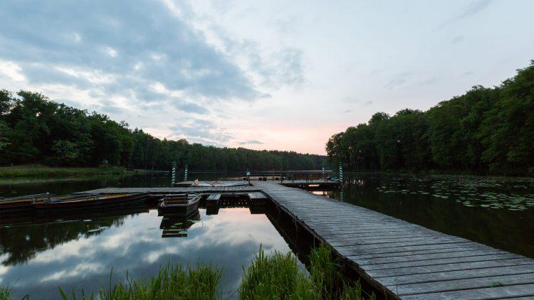 Auf diesem Steg am Madlitzer See landen schon mal Bräute. Im Sommer werden hier außerdem die Yogaklassen gegeben.