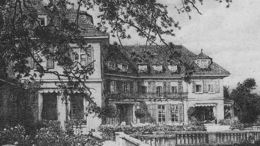 Ein Kupferdruck zeigt den Landsitz der Familie Sobernheim auf Schwanenwerder.