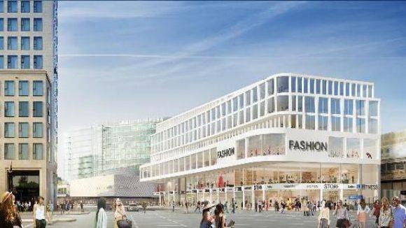 Geschwungene Formen. Das Modell zeigt den Blick vom Hardenbergplatz auf den Neubau mit einer 150 Meter langen Schaufensterfront.