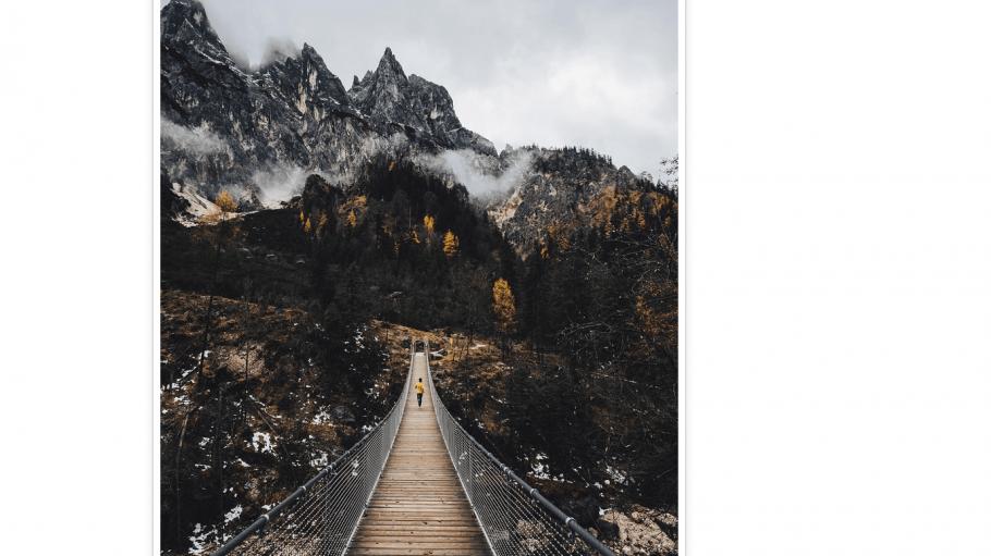 Fotoblogger patheights Bild vom Kollegen bokem0hn auf einer Hängebrücke in den Bergen vom Nationalpark Berchtesgarden.