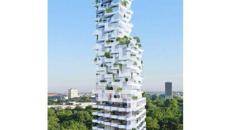 Verschachtelte Architektur. Unten sieht man Büroetagen, darüber Wohnungen.