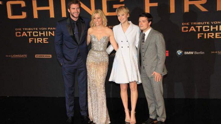 Die Hauptdarsteller ließen es sich nicht nehmen persönlich vorbeizuschauen: Liam Hemsworth, Elizabeth Banks, Jennifer Lawrence und Josh Hutcherson (v.l.n.r.).