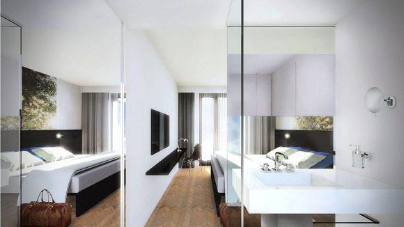 Der Entwurf für eines der von Größe und Schnitt her unterschiedlichen Zimmer.