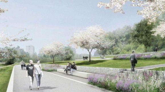 Der Panoramaweg über das IGA-Gelände führt südlich des Kienbergs an terrassenförmig angelegten Gärten vorbei.