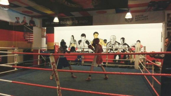 Zwei Schützlinge von Izzet Mafratoglu eröffneten den Stiftungsreport 2015 im Isigym mit einem Boxkampf über drei Runden.