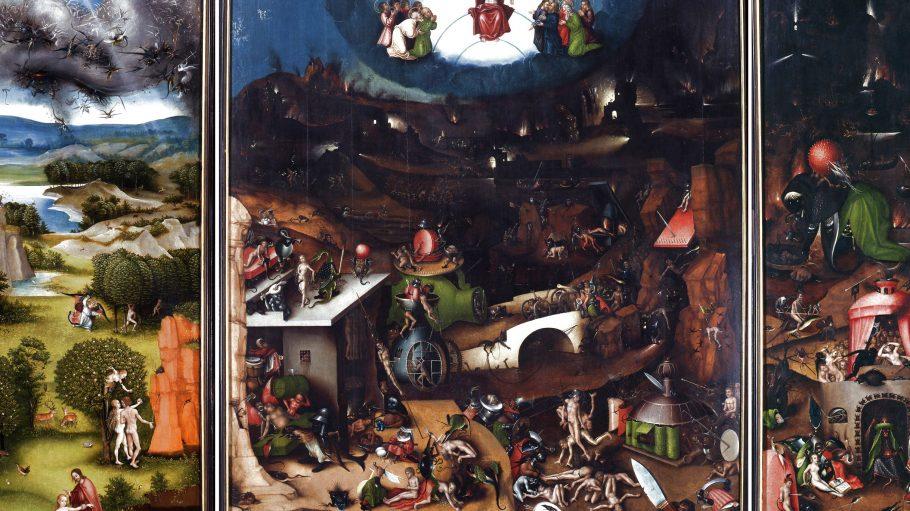 In der Kopie vom Weltgericht von Bosch sind Gott, Adam und Eva sowie etliche Höllenmonster zu sehen.