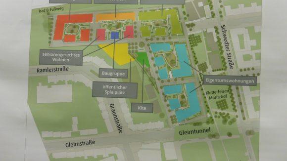 So sehen die aktuellen Pläne für die künftigen Baumaßnahmen am Rande des Mauerparks aus. Ob diese genau so auch umgesetzt werden, ist noch nicht sicher.
