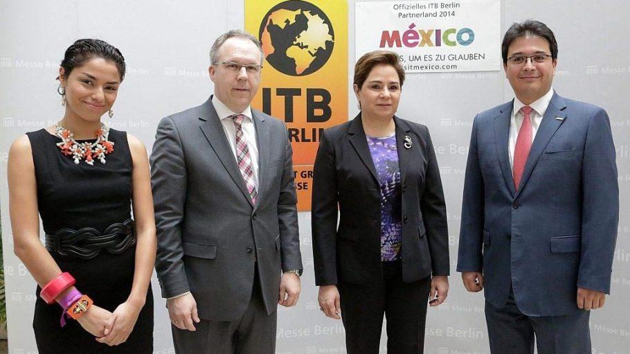 Die ITB begrüßt 2014 Mexiko als Gastland. Bei einer Pressekonferenz standen Vicente Salas, Direktor des Mexikanischen Fremdenverkehrsamtes in Deutschland, Botschafterin Patricia Espinosa Cantellano und ITB-Leiter David Ruetz (v.r.n.l.) Rede und Antwort.