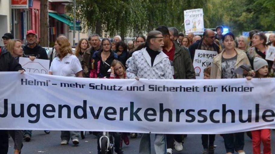 Demonstration für den Erhalt der JVS in Moabit am 27. September.
