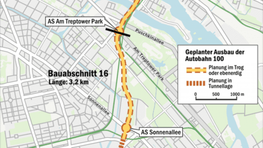 So soll die A100 künftig verlaufen: vom Autobahndreieck Neukölln über Treptow bis an die Frankfurter Allee in Friedrichshain.