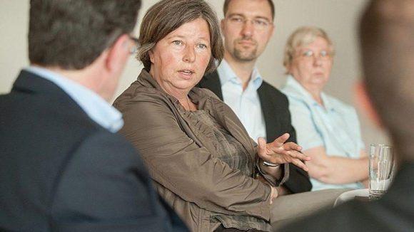 Katrin Lompscher (Die LINKE) beim Fair-Miet-Salon.