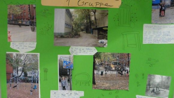 Ein Plakat der Lemgo-Grundschule im Kreuzberger Gräfekiez.