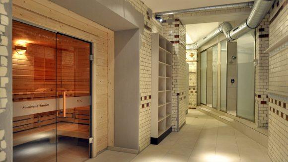 Blick auf die Finnische Sauna.
