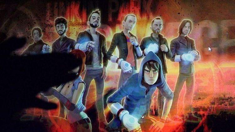 """Blick ins Spiel """"Linkin Park Recharge"""". Die Helden der Handlung müssen dafür sorgen, dass die Menschheit von den Unterdrückern befreit wird, die der Bevölkerung den Zugang zu erneuerbaren Energien verwehren."""