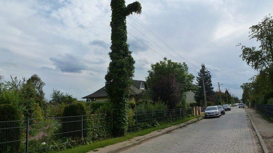 """Selbst ein Strommast kann in Mahlsdorf-Nord grün sein - gesehen in der Straße namens """"Wacholderheide""""."""
