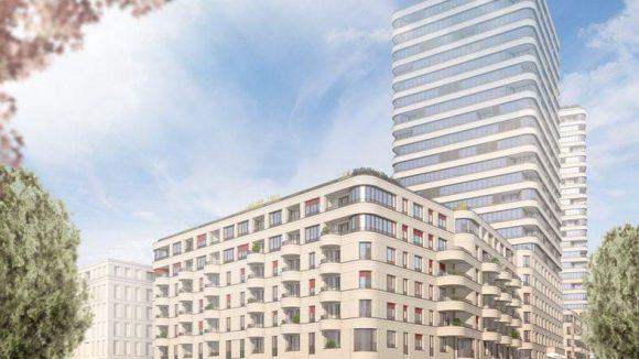 """Friedrichshain der Zukunft: Eine Konzeptzeichnung zum Wohnblock """"Max"""". Fast verdeckt, rechts im Hintergrund: Der 26-stöckige """"Moritz""""-Turm."""